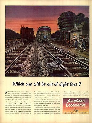 1945 American Locomotive Ad Freight and passenger Trains Out of sight first 4501