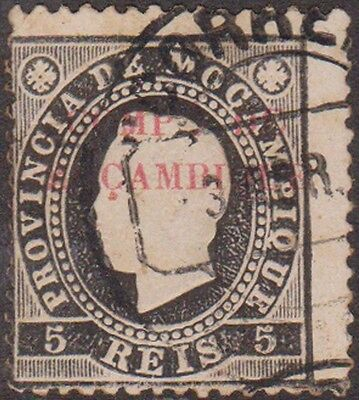 (RO29) 1870 Portugal 5R black & white red O/P