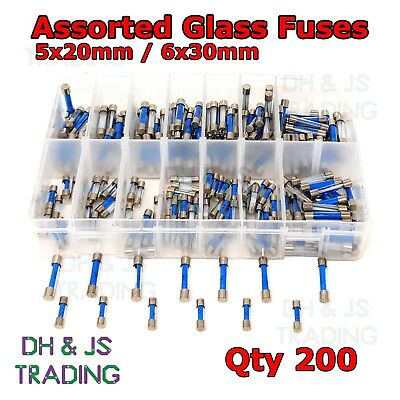 200x Assorted Glass Fuses 5x20mm 6x30mm Box Fuse Quick Blow Fast Acting Tube