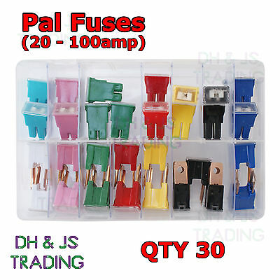 Assorted Box of PAL Fuses Male and Female 20 30 40 50 60 70 80 100a Fuse Qty 30