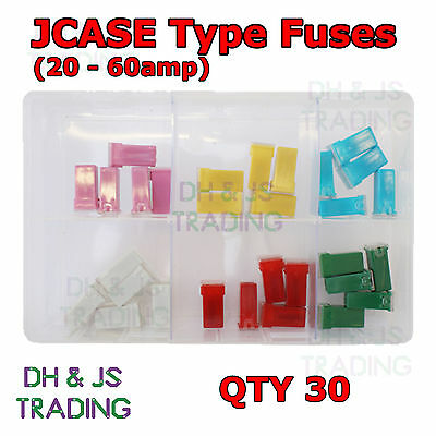 Assorted Box of JCASE Type Fuses 20 j case fuse low profile female jcase fuses 20 a to 60 a, assorted Low Profile Jcase Fuse Assortment at crackthecode.co