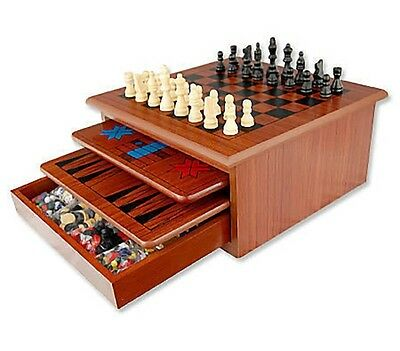 Portable family wooden 10 board games chess checkers backgammon snakes ladders
