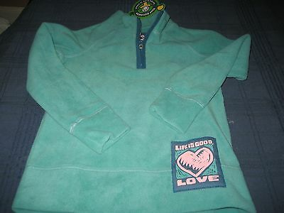 Life Is Good Girls 1/4 Zip Microfleece Sweater Top Love Size 4 Nwt Teal Msrp $40