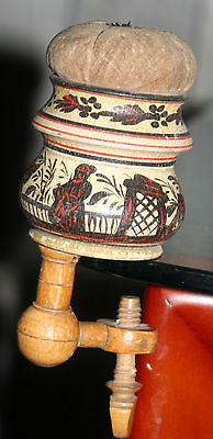 ANTIQUE HAND PAINTED Chinoiserie WOOD CLAMP, pin cushion & THREADER w/ MIRROR