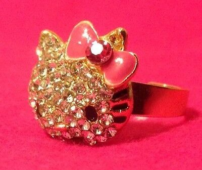 New Gold Plated Hello Kitty Ring With Pink Bow Crystal Fashion Ring