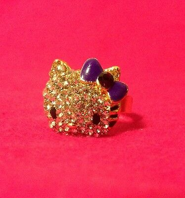 New Gold Plated Hello Kitty Ring With Purple Bow Crystal Fashion Ring