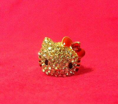 New Gold Plated Hello Kitty Ring With Red Bow Crystal Fashion Ring