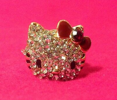 New Gold Plated Hello Kitty With Dark Ruby Red Bow Crystal Fashion Ring
