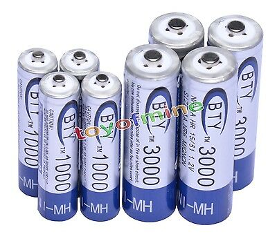 4 AA 3000mAh +4 AAA 1000mAh Ni-Mh BTY Rechargeable Battery Cell for MP3 RC Toy