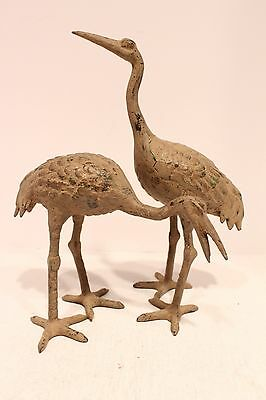 Vintage Pair of Japanese Hand Crafted Brass Cranes from the 1960s