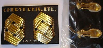 New Vintage Cheryl Reis Matte Gold Finish Clip-on Earrings ~ Made in 1980's ~