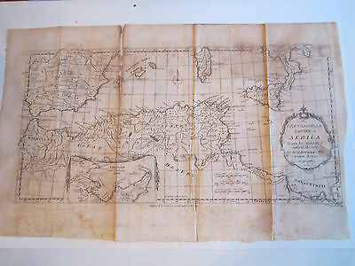 "VINTAGE 1738 CARTHAGINIAN EMPIRE IN AFRICA MAP BY D'ANVILLE - 18"" x 11""  TUB RRR"