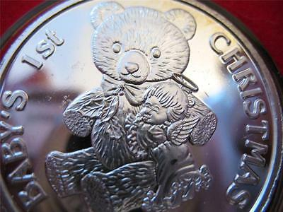 1-Oz.999 Silver 2005 Babys 1St Christmas  Teddy Bear Ornament Gift Box Coin+Gold
