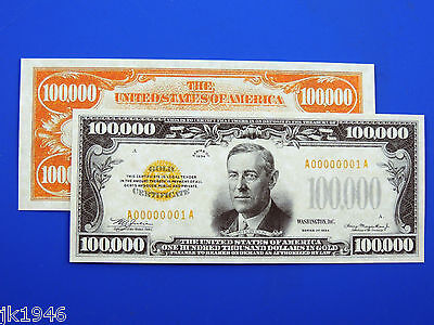 Reproduction $100,000 1934 Gold US Paper Money Currency Copy