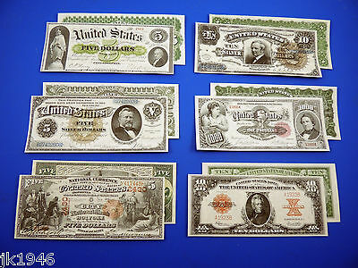 Starter Set Number 2 - 6 Reproduction U.S. Currency Paper Money Copy