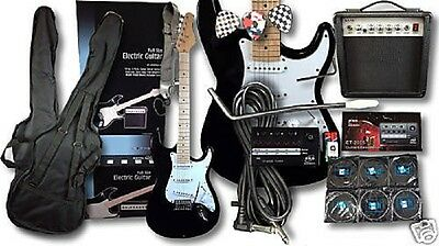 Pitchmaster Full Size Black Electric Guitar Package + 15 Watt Amp + Tuner