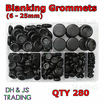 Assorted Box of Blanking Grommets 6 9 12 16 20 25 Qty 280 Bung Closed Grommet