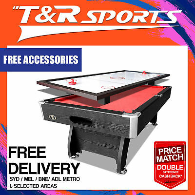 New! 8Ft Red Pool Table Snooker Billiards + Free Ping Pong / Air Hockey Top!