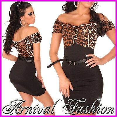 NEW womens SEXY PARTY CASUAL formal BUSINESS MINI DRESS black LEOPARD 6 8 10 S M