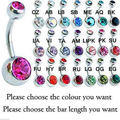 BELLY BARS 6mm 8mm 10mm 12mm 14mm Surgical Steel Double Jewelled Navel Ring