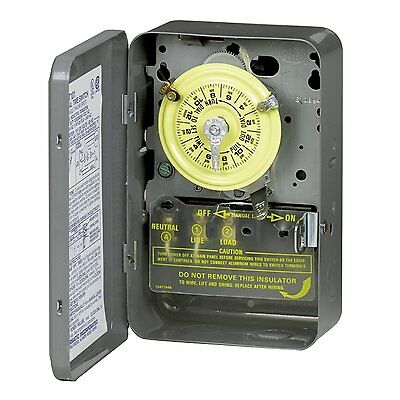 Intermatic T104 Mechanical Time Switch, 2 Poles, Gray