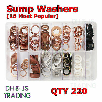 Assorted Box of Sump Washers Qty 220 Aluminium Copper Fibre Plug Plugs Washer