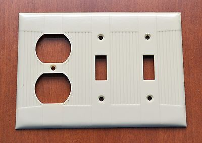 Bakelite EAGLE Ivory RIBBED 2 Switch Duplex Combinatio Outlet Plate Cover