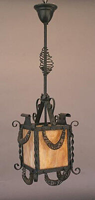 1920s Wrought Iron Pendant Lantern Slag Glass Fits Spanish Revival Tudor (4748)