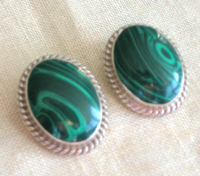 Bold Sterling Silver Malachite Earrings Clips Hand Made Artisan Mexico 17.3 Gram