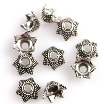 250x 161702 Hotsale Dots Flower Vintage Silver Bead Caps End Tips Fit Craft DIY