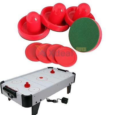 4Pcs Air Hockey Table Goalies with 4pcs Puck Felt Pusher Mallet Grip Tools Red