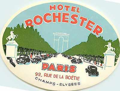 Hotel Rochester ~PARIS FRANCE~ Great Old ART DECO  Luggage Label