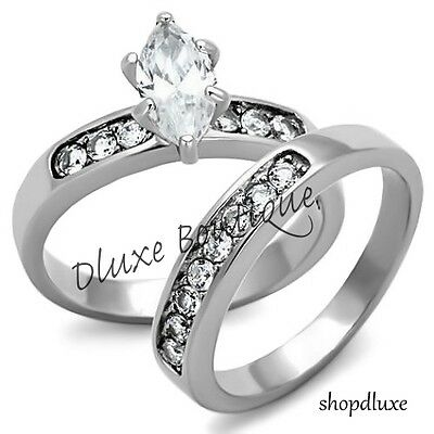 Beautiful Marquise Cut Stainless Steel AAA CZ Wedding Ring Set Women's Size 5-10
