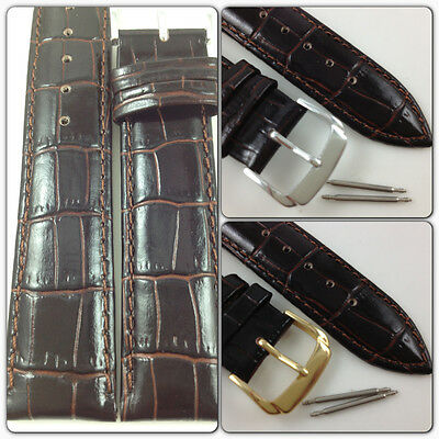 HQ 19mm 20mm DARK BROWN ITALY CROC GRAIN LEATHER WATCH BAND GLOSSY STRAP w/CLASP