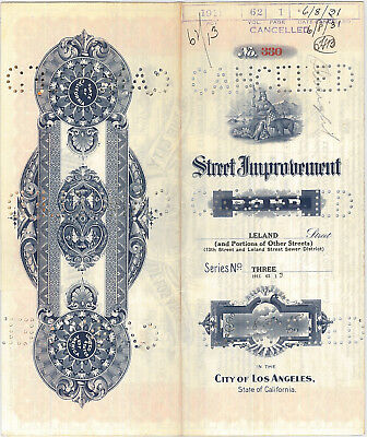 Los Angeles California Street bond certificate share