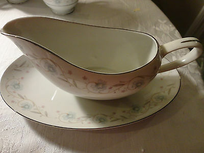 Vintage English Garden  # 1221 Fine China Japan Gravy Boat With Under Plate