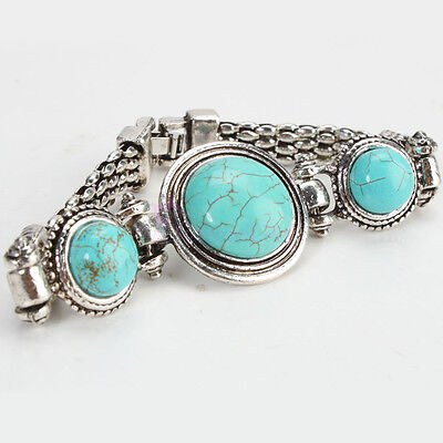Retro Style Woman Jewelry Charm Oval Lovely Turquoise Chain Bangle Bracelet