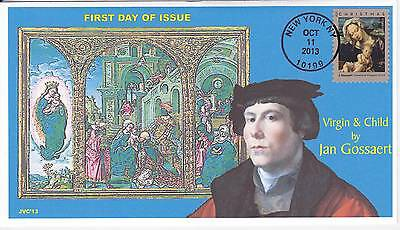 Jvc Cachets - 2013 Virgin & Child By Jan Gossaert Issue First Day Cover Fdc #3