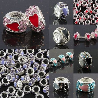 Wholesale Crystal Rhinestone Heart Love Rondelle European Charm Bead Bar Spacers