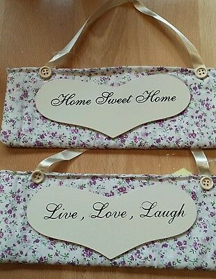 JOB LOT x 6 Pretty Fabric & Wooden wall art- Live Love Laugh or Home Sweet Home