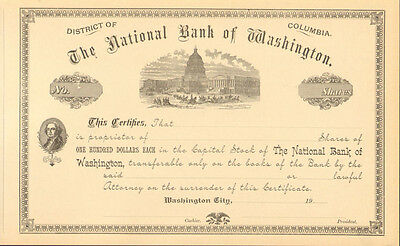 The National Bank of Washington D. C. > District of Columbia  stock certificate