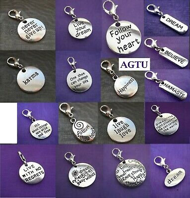YOU PICK CHARM Clip On Silver Inspirational Karma Live Laugh Love Dream Never