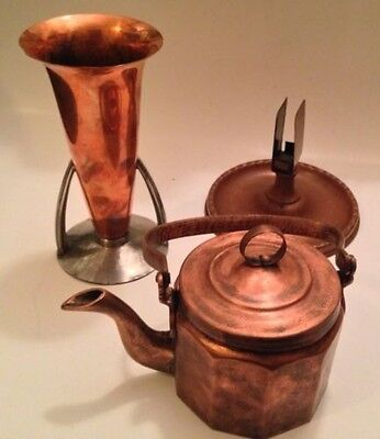 Flemish Copper 4072 Vase & brass/bronze Tea Kettle & Ash Tray/Match Book-Vintage