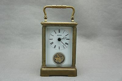 Antique Brass Tourbillon Carriage Clock with Roman Number with White Porcelain
