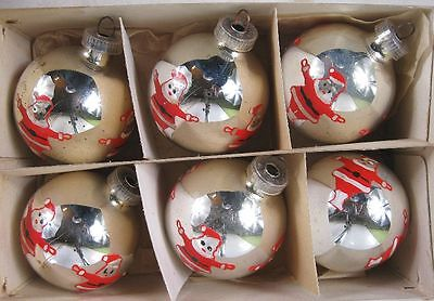 Lot of 6 Vintage 1950's Austria Made Hand Painted Santa's Ornaments