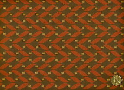 Woven Mid Century Modern Retro Funky Geometric Coral Charcoal Upholstery Fabric