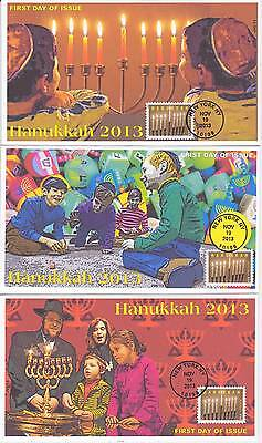 Jvc Cachets -2013 Set Of 3 Hanukkah First Day Covers Fdc Holiday Topical