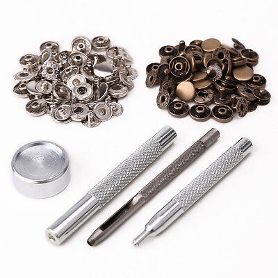 30 x10mm Poppers Snap Fastener Poppers Press Stud Kit Fixing Tool Sewing Craft