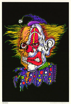Poster: 2 Faced  Clown - Blacklight & Flocked - Free Shipping ! #3266F  Rap105 C