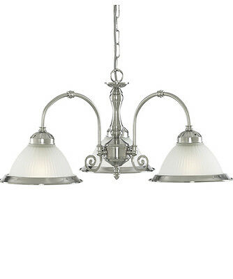SEARCHLIGHT 1043-3 American Diner 3 Light Ceiling Light in Satin Silver